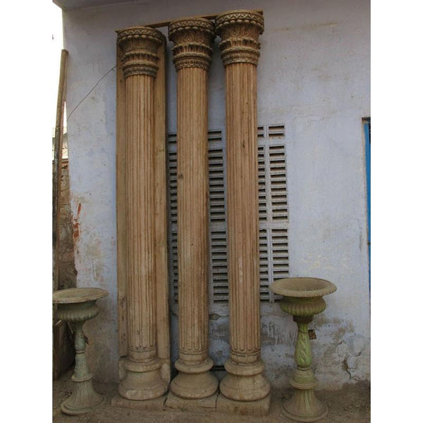 Teak Pillars With Stone Base From Gujarat (PAIR) - 19thC