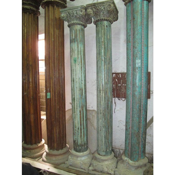 Teakwood Painted Pillars (Pair) With Stone Bases - 19thC