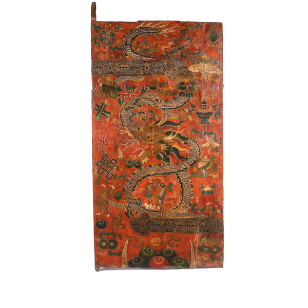 Tibetan Dragon Door Panel With Original Paint 75 - 100 Yrs Old