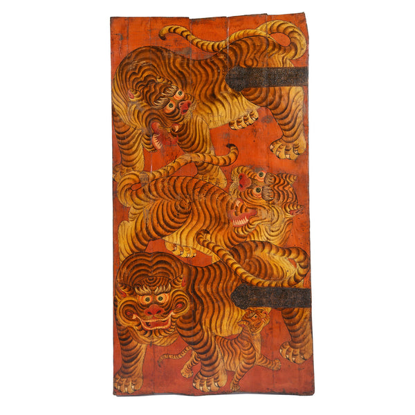 Tibetan Tiger Door Panel With Original Paint 75 - 100 Yrs Old