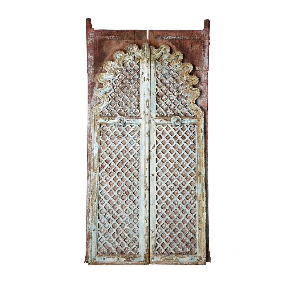 Vermillion Painted Mica Indian Peacock Doors - 18thC