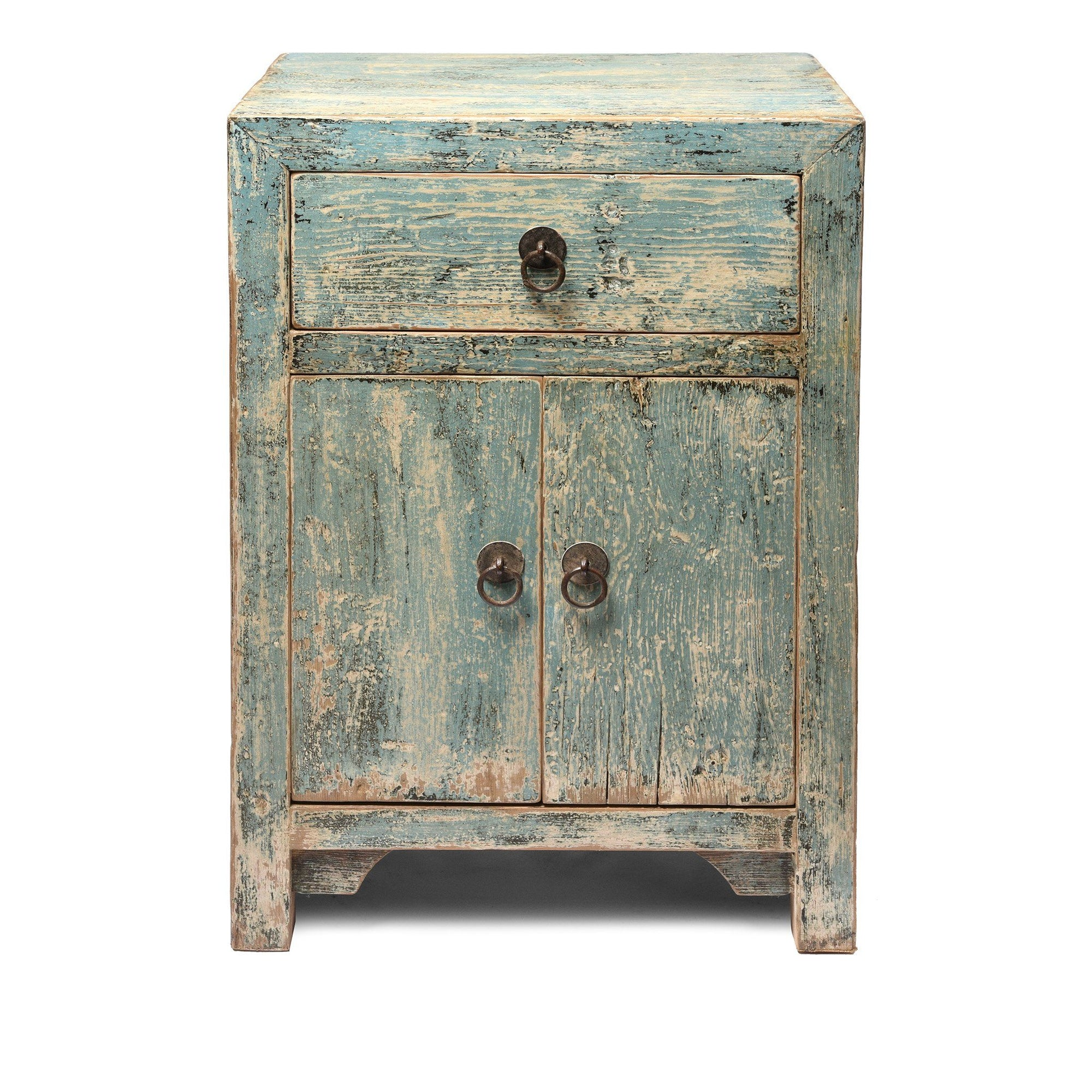 Blue Painted Bedside Cabinet With Drawer | Indigo Antiques