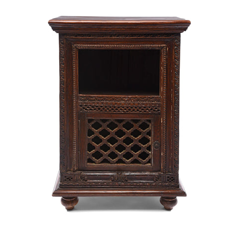 Carved Lattice Cabinet Made From Reclaimed Teak