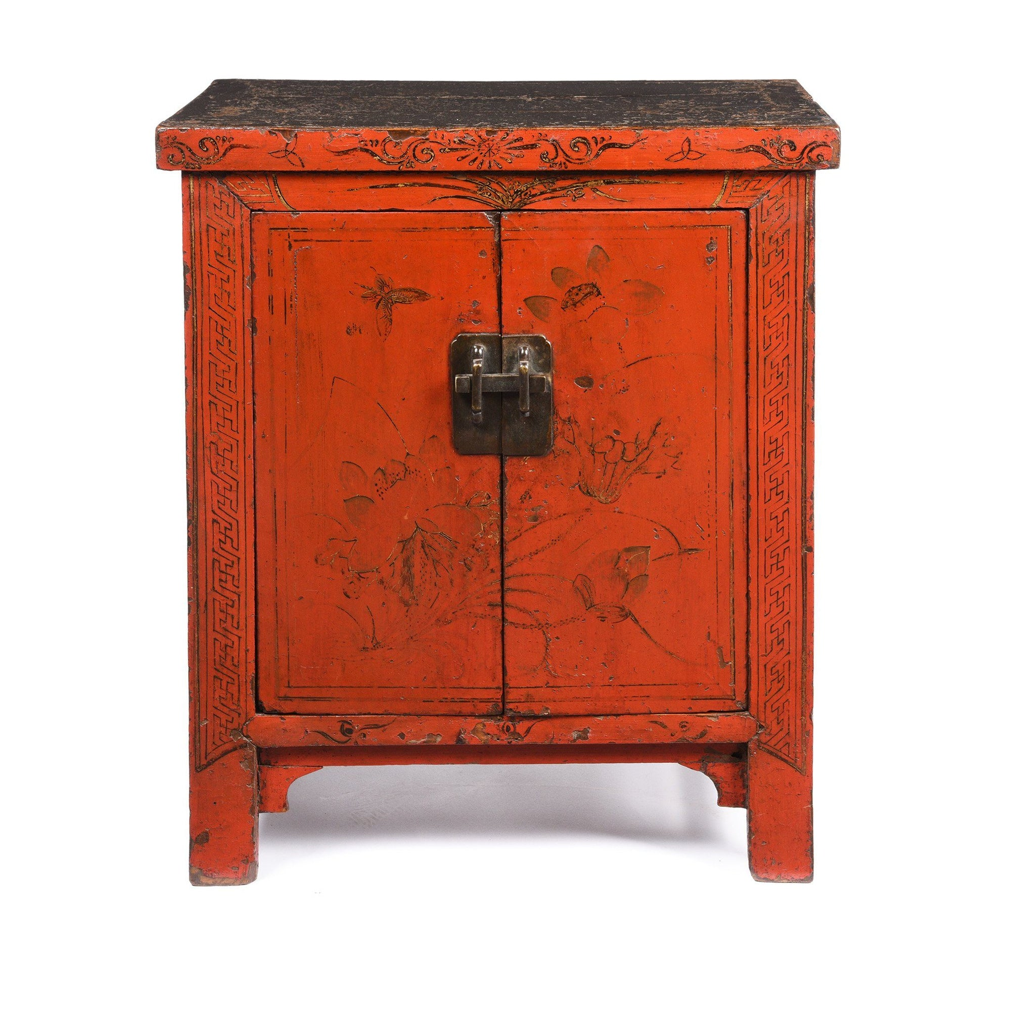 Chinese Red Lacquer Bedside Cabinet from Shanxi - Early 19thC | Indigo Antiques