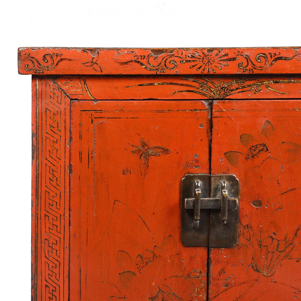 Chinese Red Lacquer Bedside Cabinet from Shanxi - Early 19thC