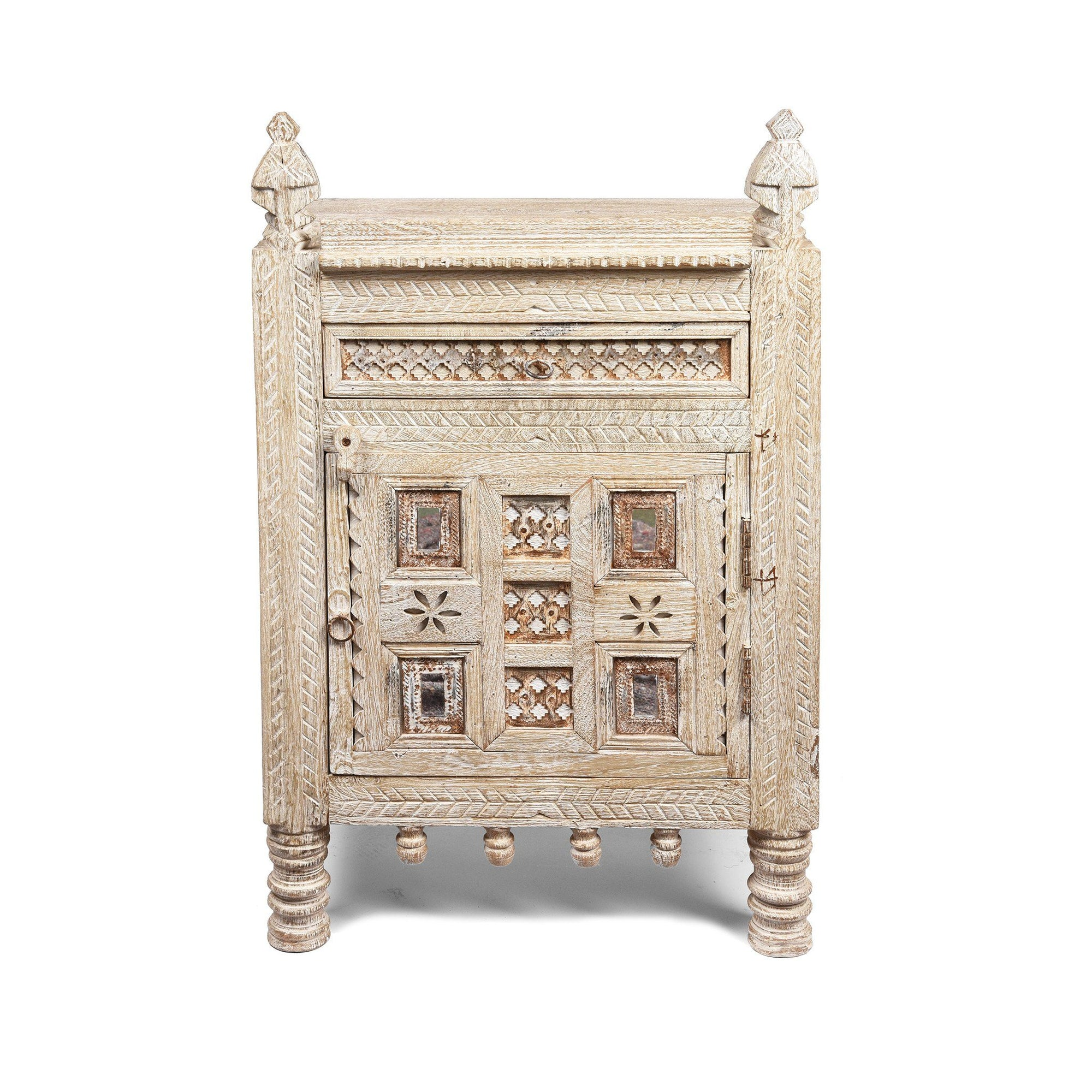 White Limed Indian Kutchi Bedside Cabinet Made from Sustainable Mango Wood | Indigo Antiques