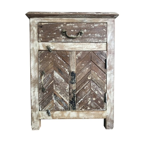 Parquet Bedside Cabinet Made From Reclaimed Teak