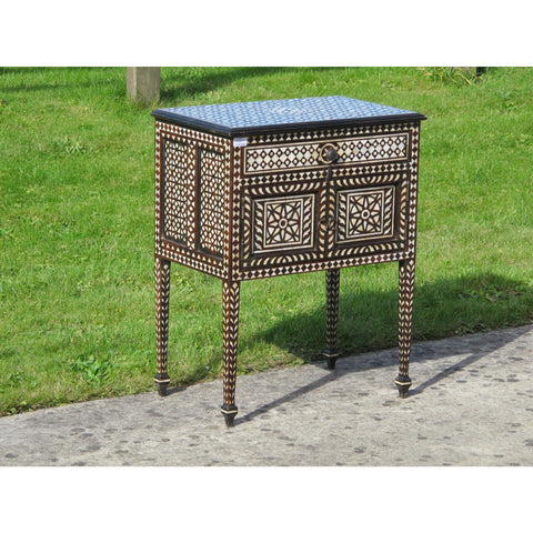 Teak Bedside Cabinet With Bone Inlay Work