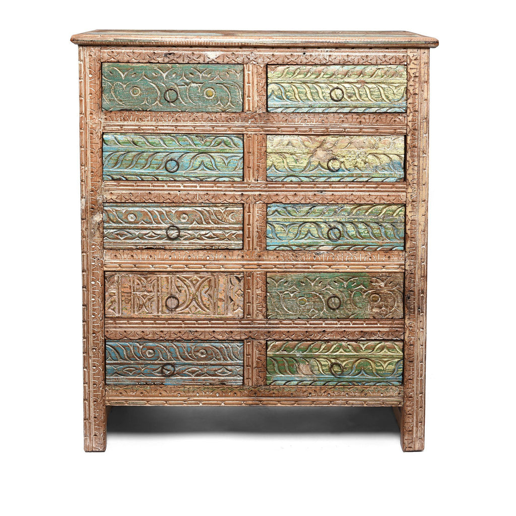 Carved Chest Of 10 Drawers Made From Reclaimed Teak
