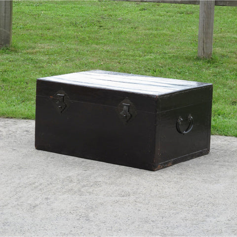 Black Lacquer Leather Trunk - Ca 1920