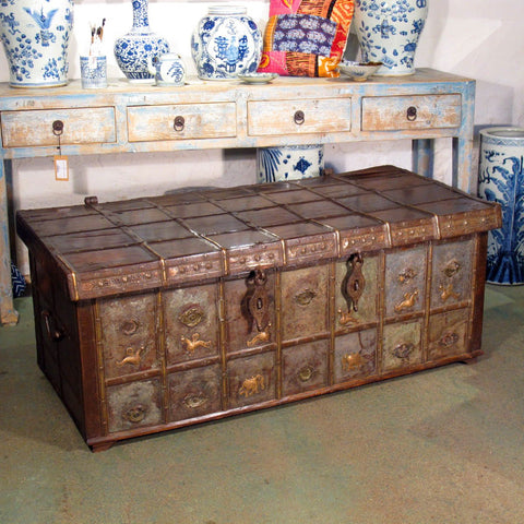 Brass And Iron Bound Teak Dowry Chest - 18thC