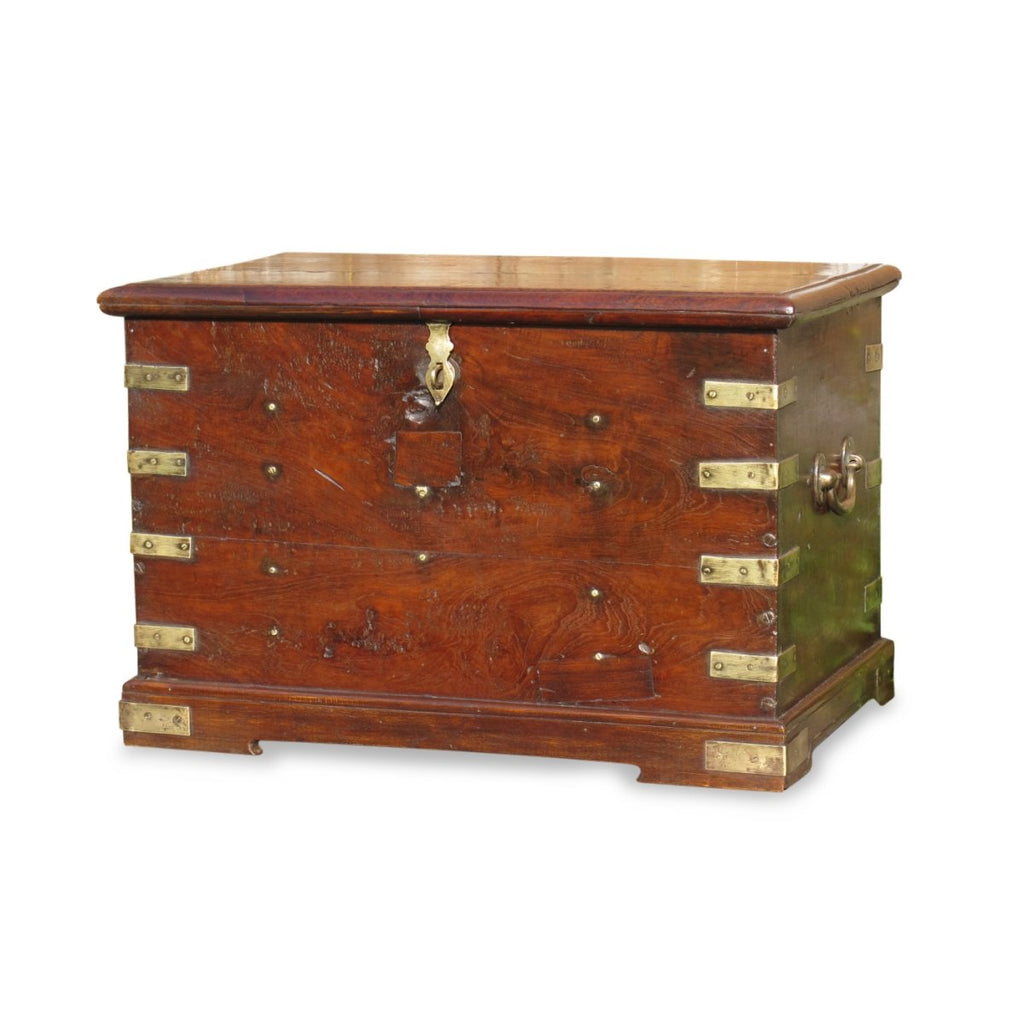 Brass Bound Military Chest From India - 19thC