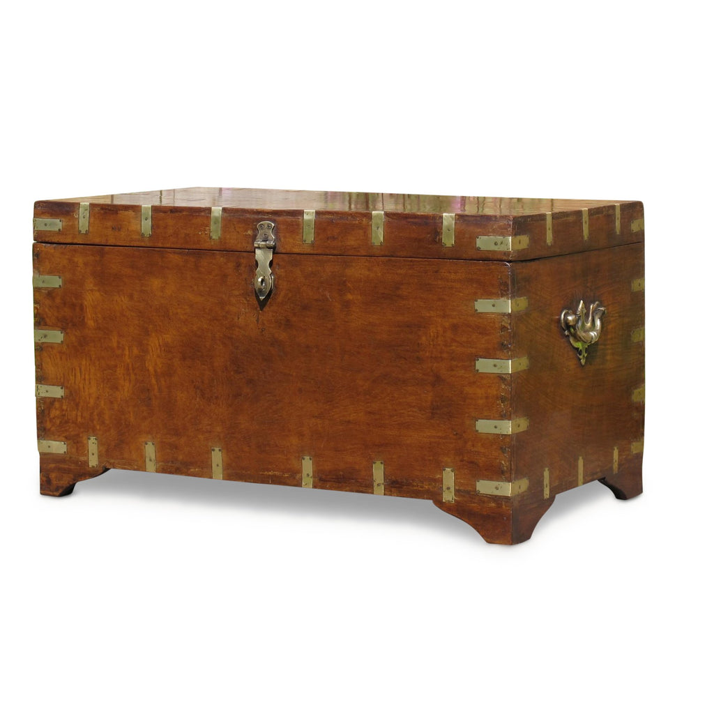 Brass Bound Military Chest From Rajasthan - 19thC