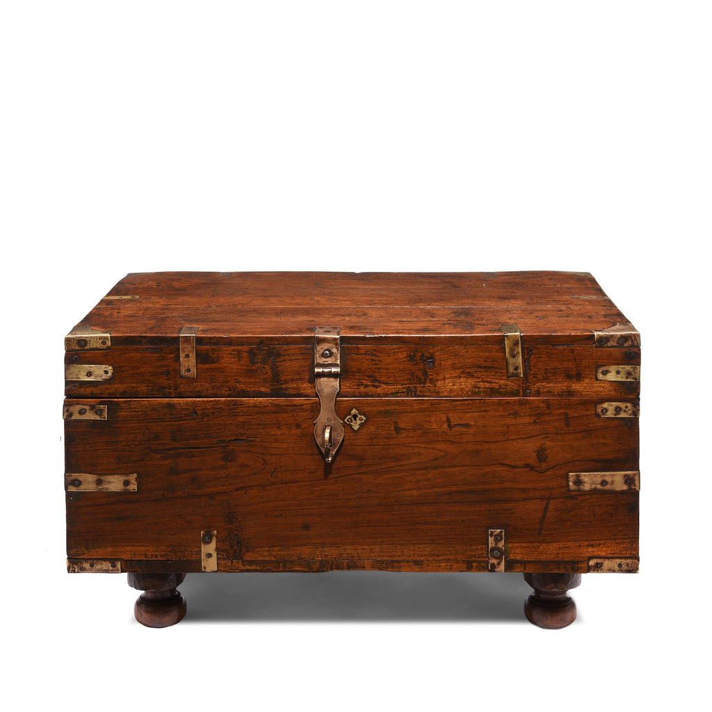 Brass Bound Teak Military Chest From Rajasthan  - 19thC