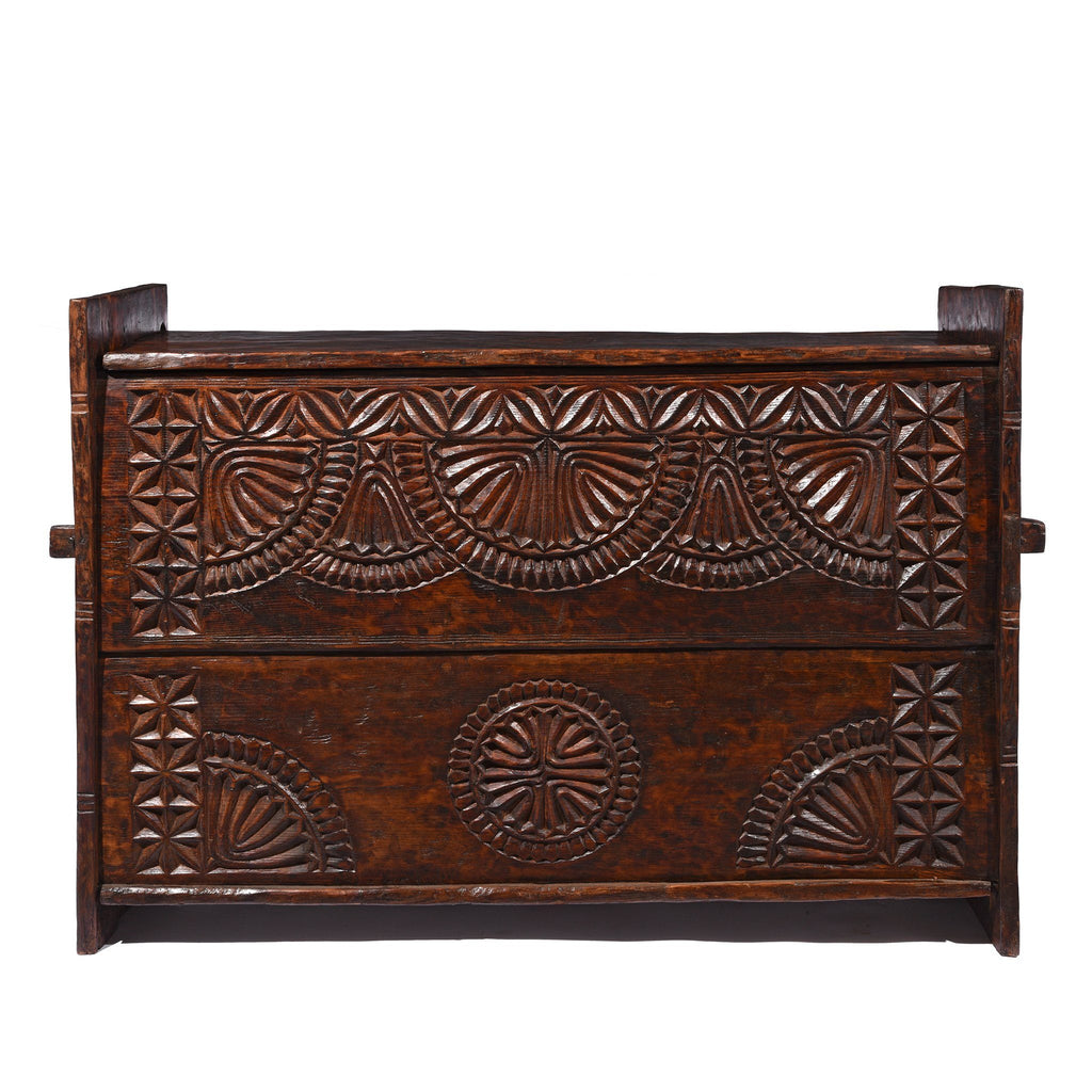Carved Himalayan Cedar Coffer from the Kulu Valley - 19thC