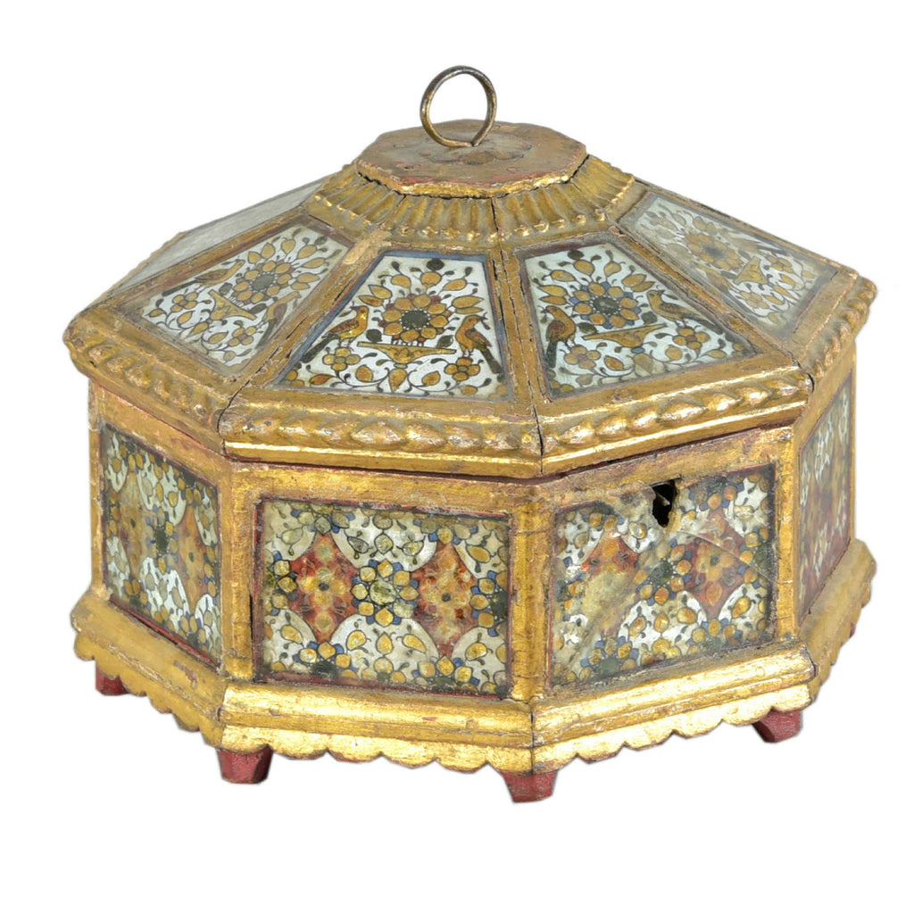 Gilded Mirror Work Octagonal Box From Rajasthan - Ca 100 yrs old