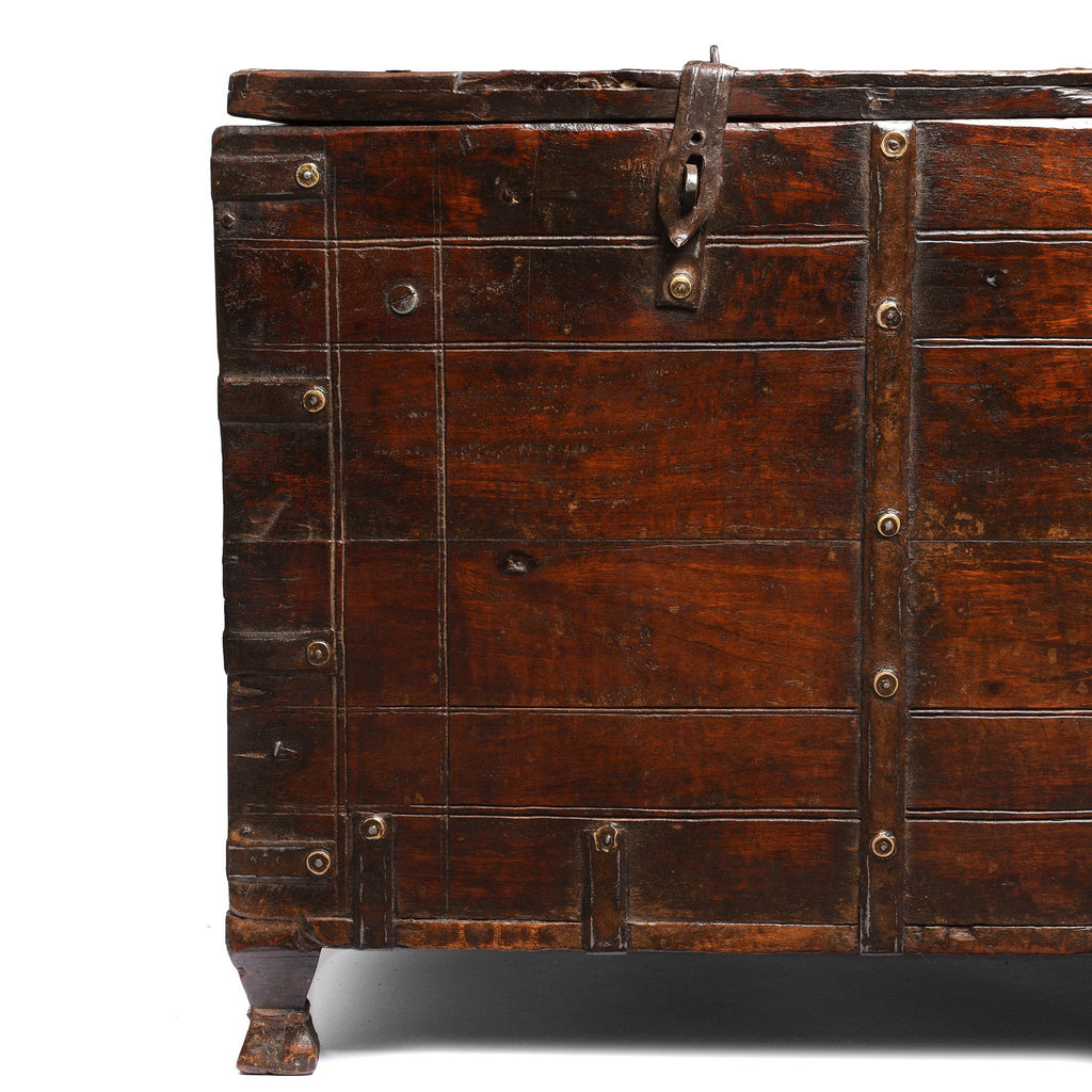 Iron Bound Roheda Chest From Rajasthan - 19thC