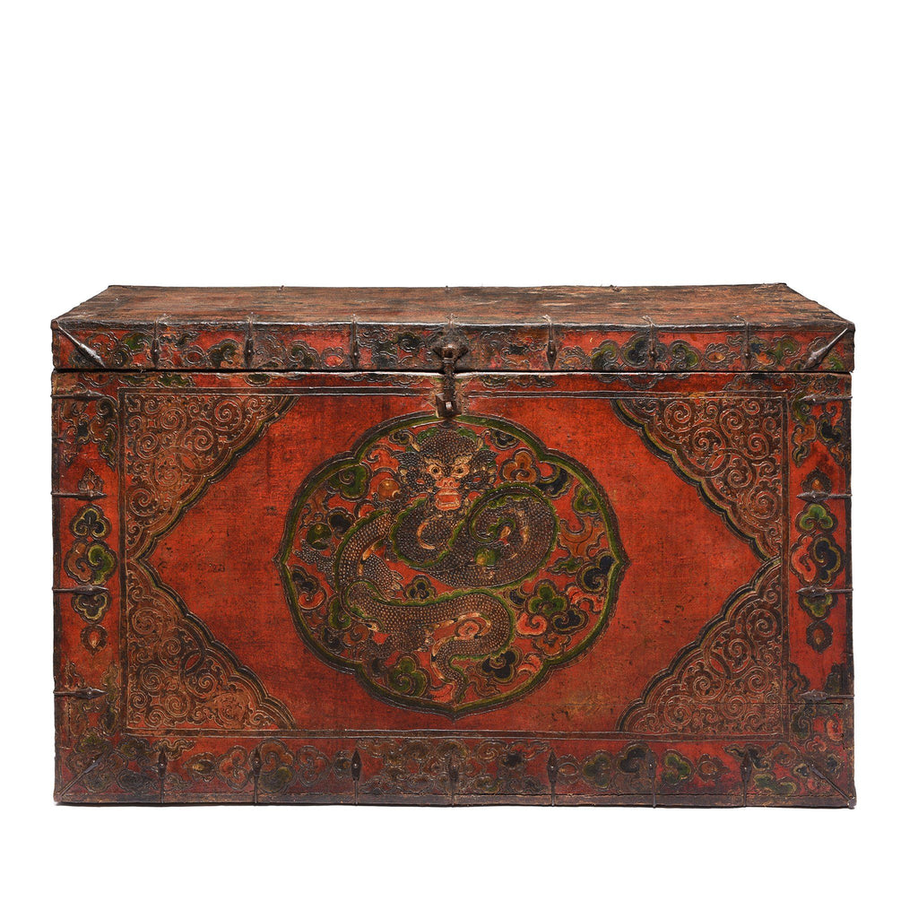 Large Painted Tibetan Dragon Storage Chest - 18thC