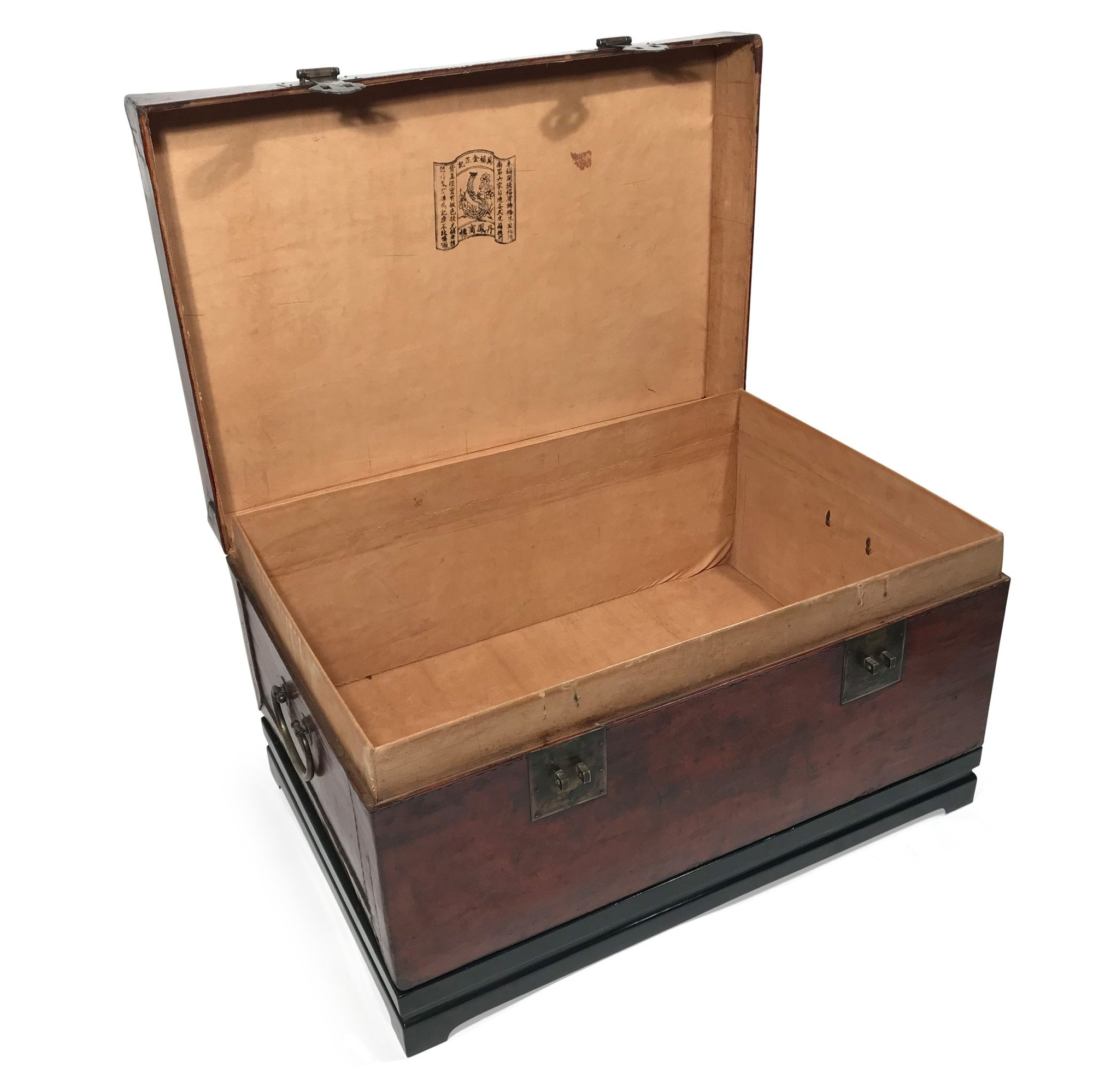 Tan Leather Trunk - 19thC on Later Stand - 83 x 56 x 45cms (wxdxh) - M355