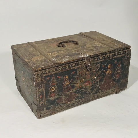 Painted Merchants Box From Rajasthan (Rare Example) - 19thC