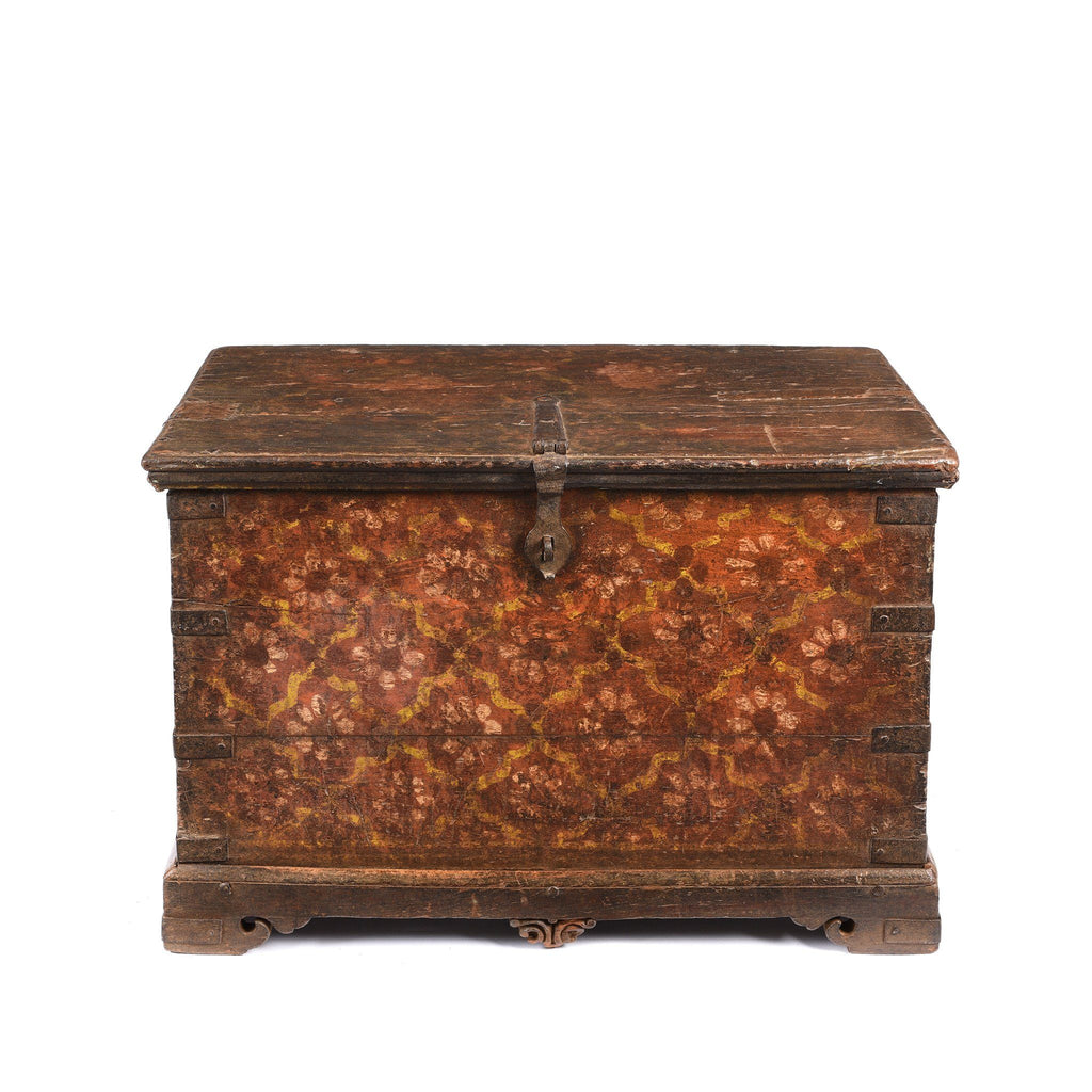 Painted Teak Chest From Nagaur - 19thC