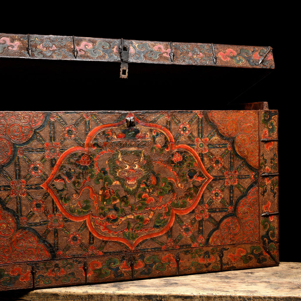 Painted Tibetan Dragon Storage Chest - 18thC
