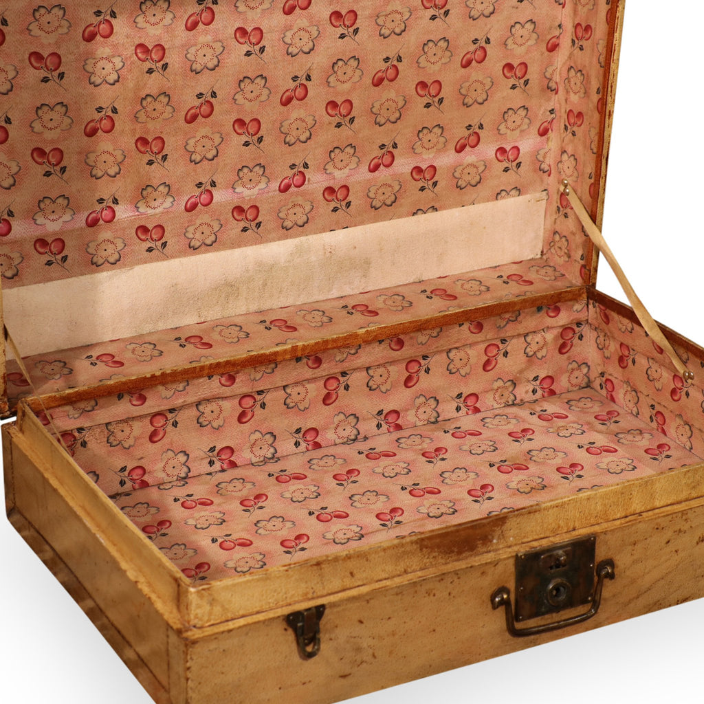 Pale Leather Trunk from Shanghai - Ca 1920