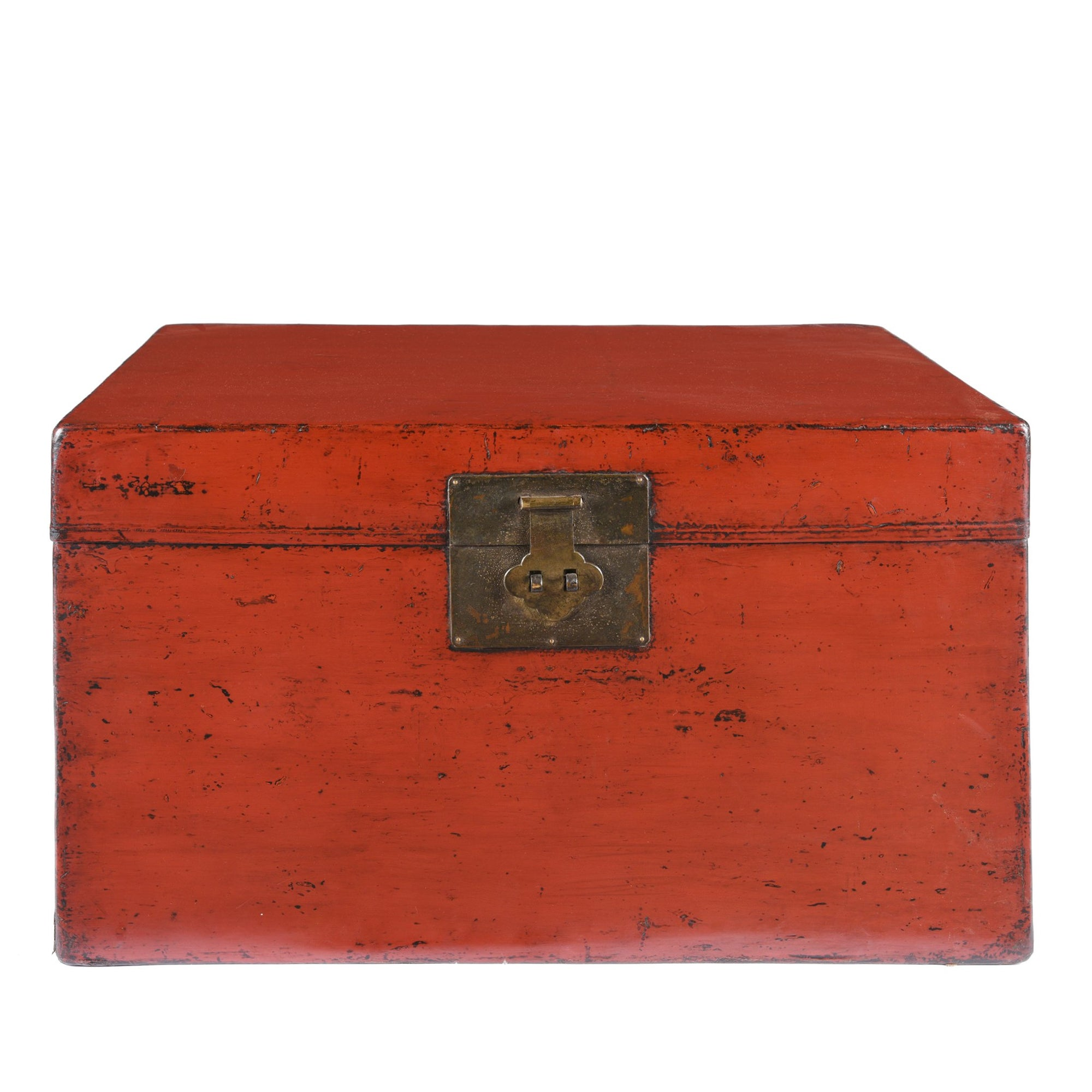 Chinese Red Lacquer Leather Trunk From Shanghai - Ca 1920 | Indigo Antiques