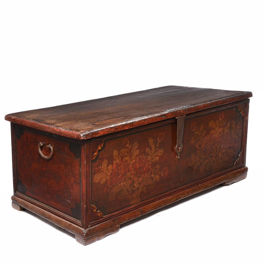 Teak Chest From South India With Original Floral Paint-19thC