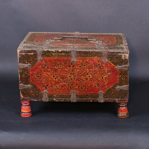 Teak Merchants Box With Original Paint