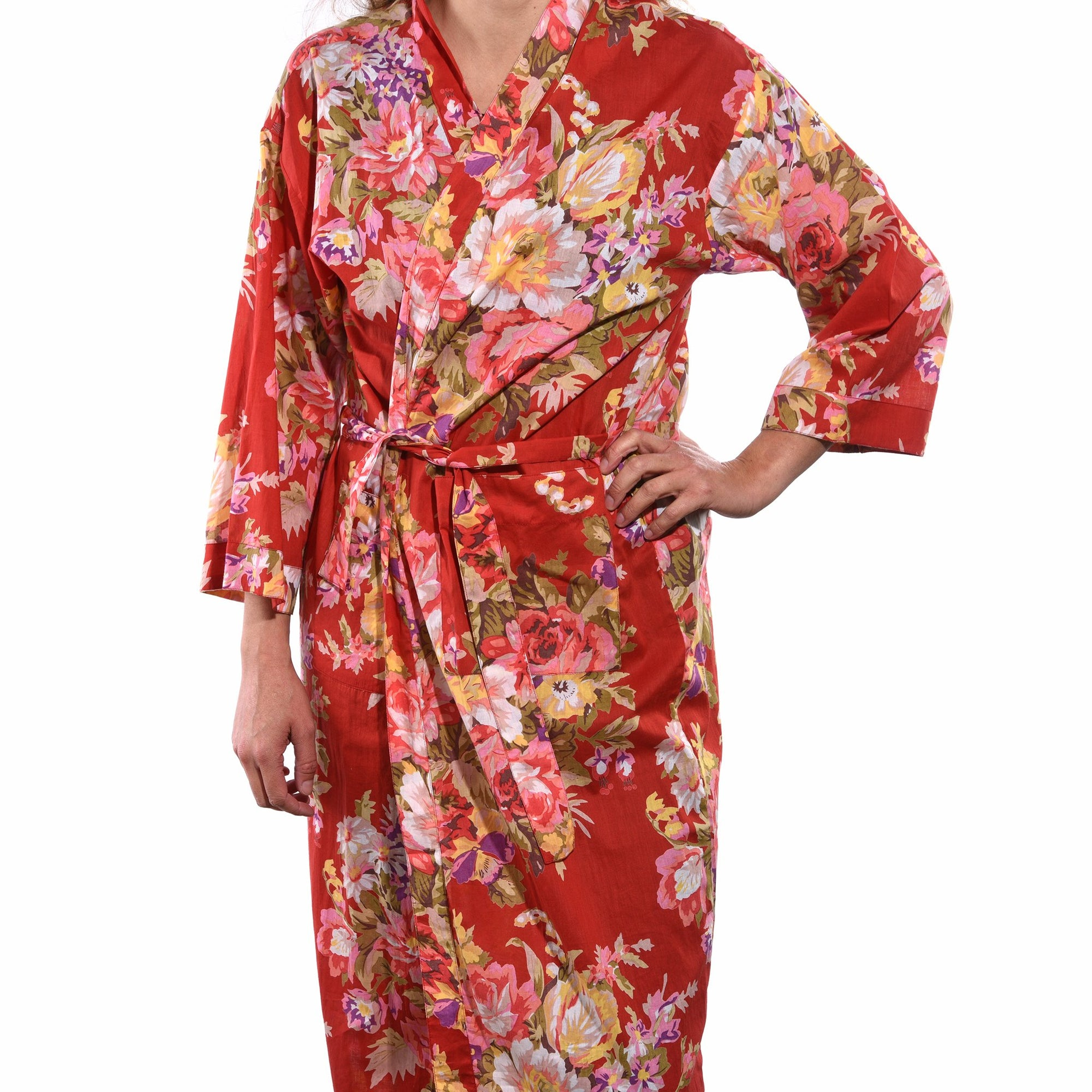 Indian - Fine - Cotton - Printed - Shanghai - Floral - Red - Bath - Robe - Unisex - 100%