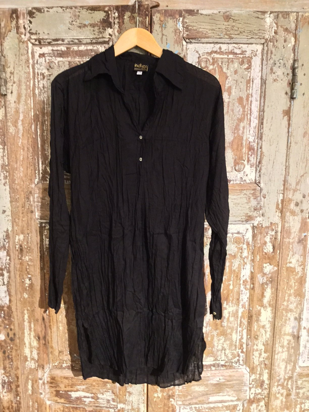 Long Collared Shirt - 100% Cotton (Black) | Indigo Oriental Antiques