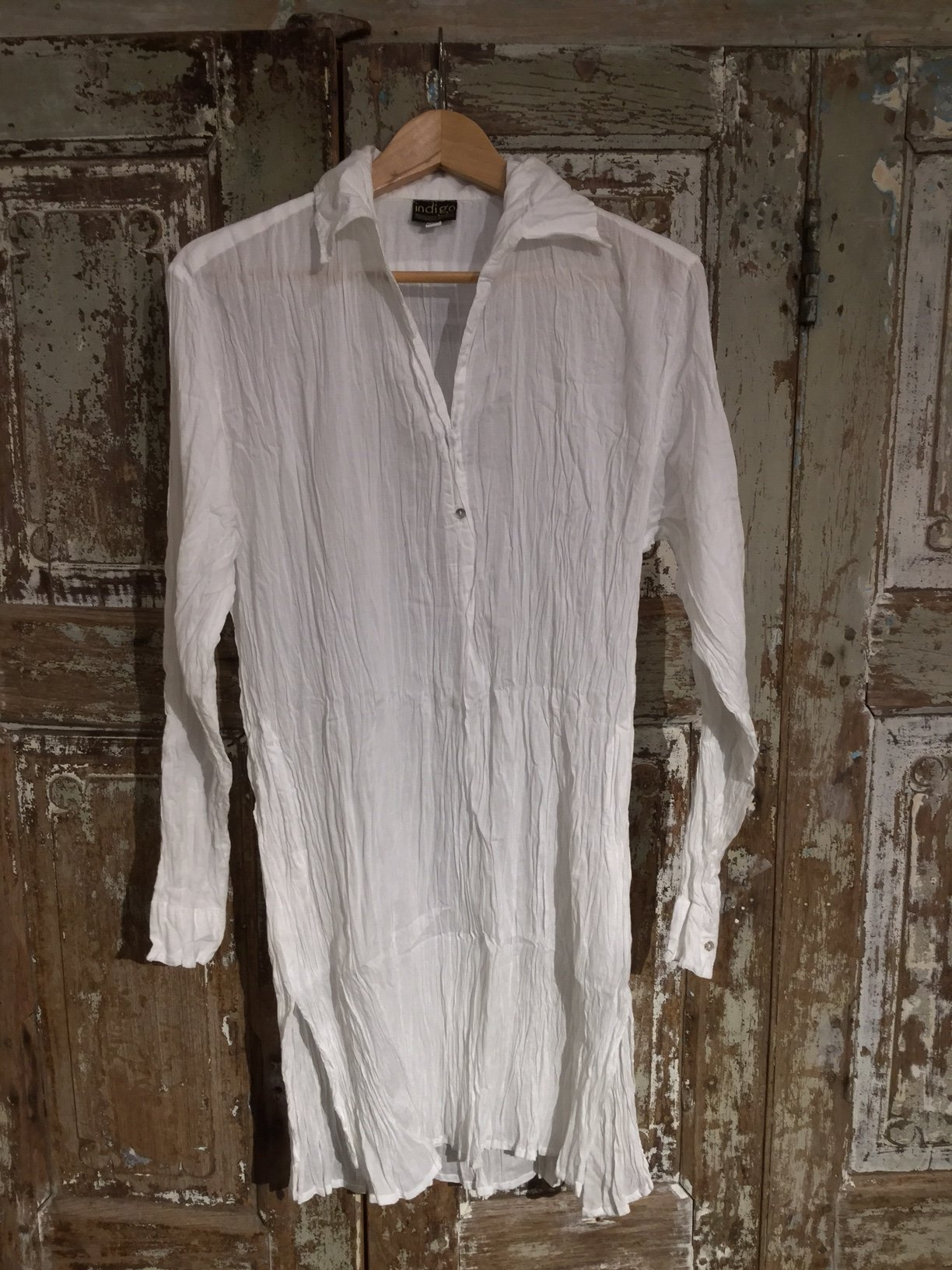 Long Shirt 100% Cotton - With Collar - WHITE | Indigo Oriental Antiques