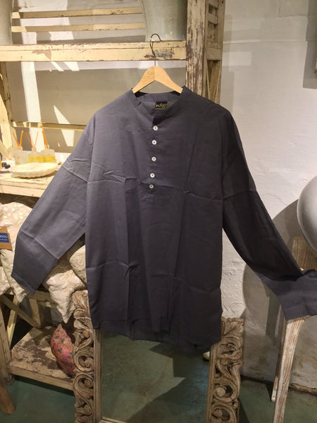 Nehru Style Dark Grey Shirt - 100% Cotton