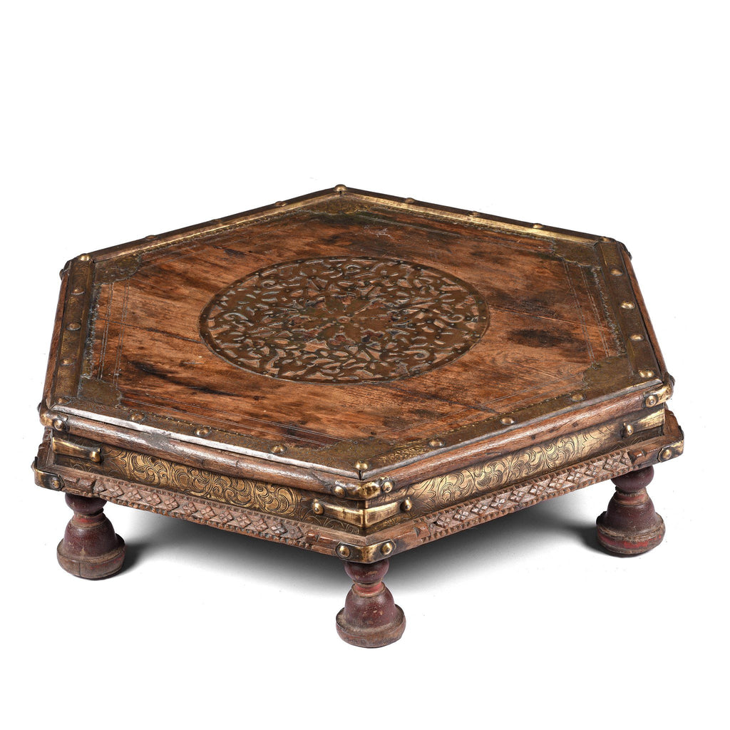 Brass & Rosewood Prayer Table from Gujarat - 19thC