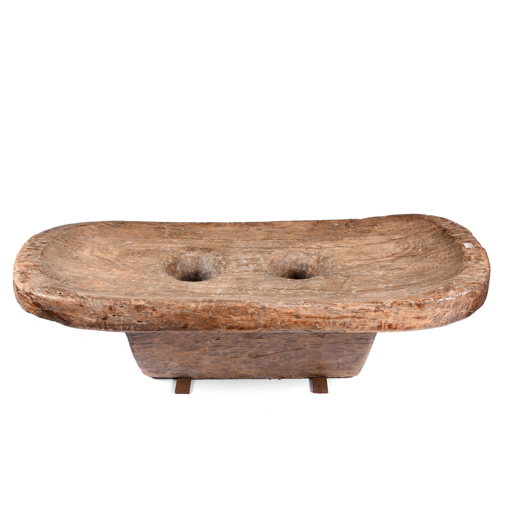 Carved Teak Mortar Table From Nagaland - Ca 100 Yrs Old