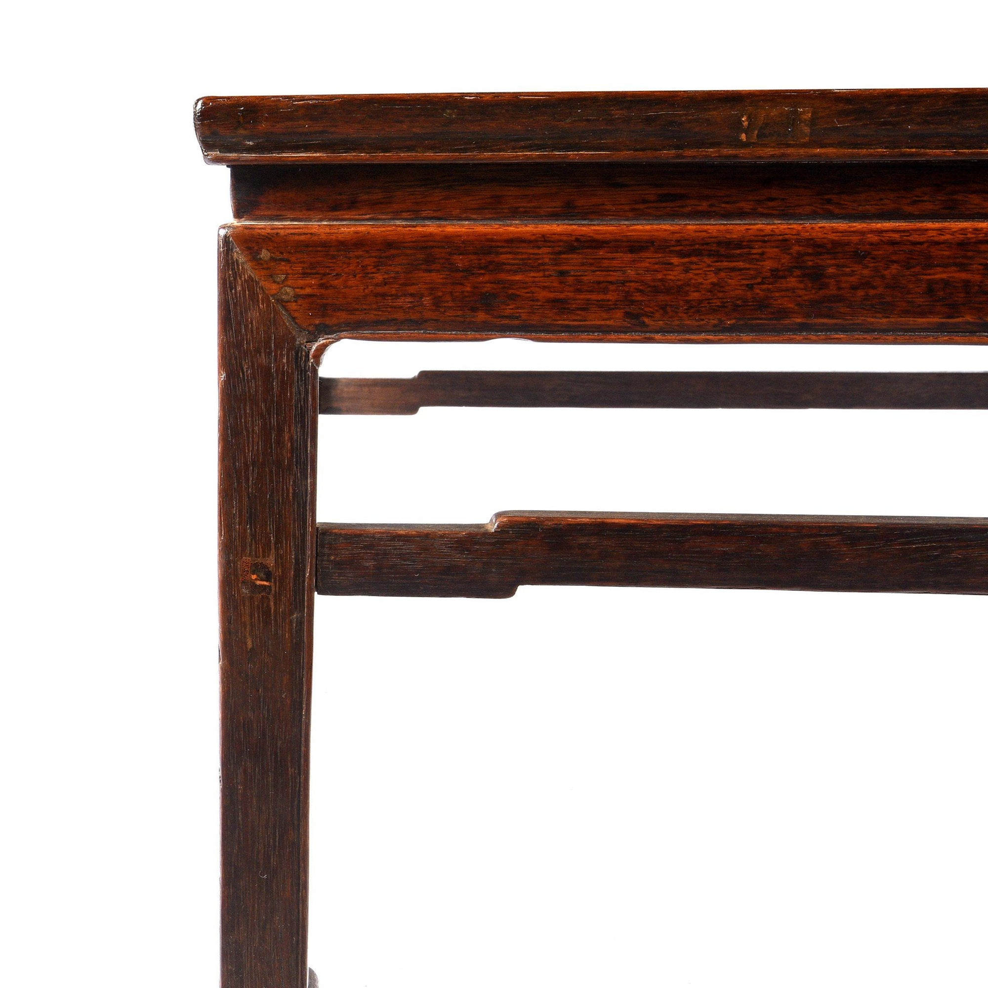 Side Detail from a Antiques Chinese Qing Oak, Jichimu (Chicken Wing) & Elm Wood Square Coffee Table From Shanxi | Indigo Antiques