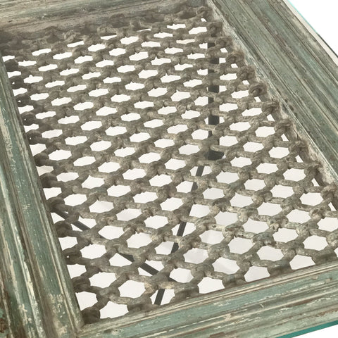 Old Jali Window Coffee Table with Glass Top