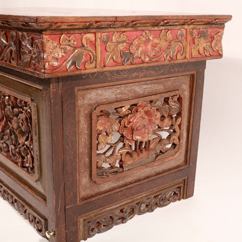 Painted & Carved Choksar - Prayer Table from Tibet