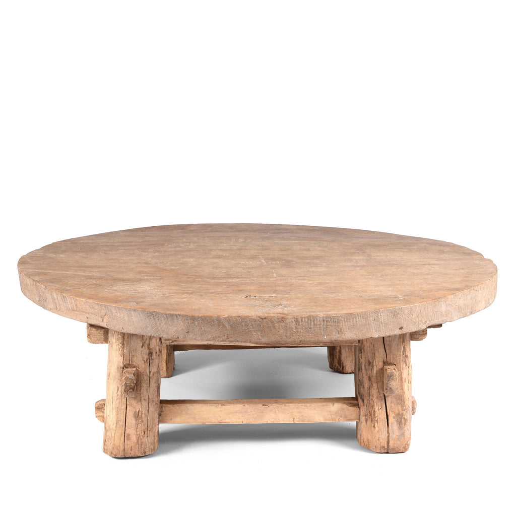 Round Elm Farmers Table From Shanxi - Ca 100 Yrs Old
