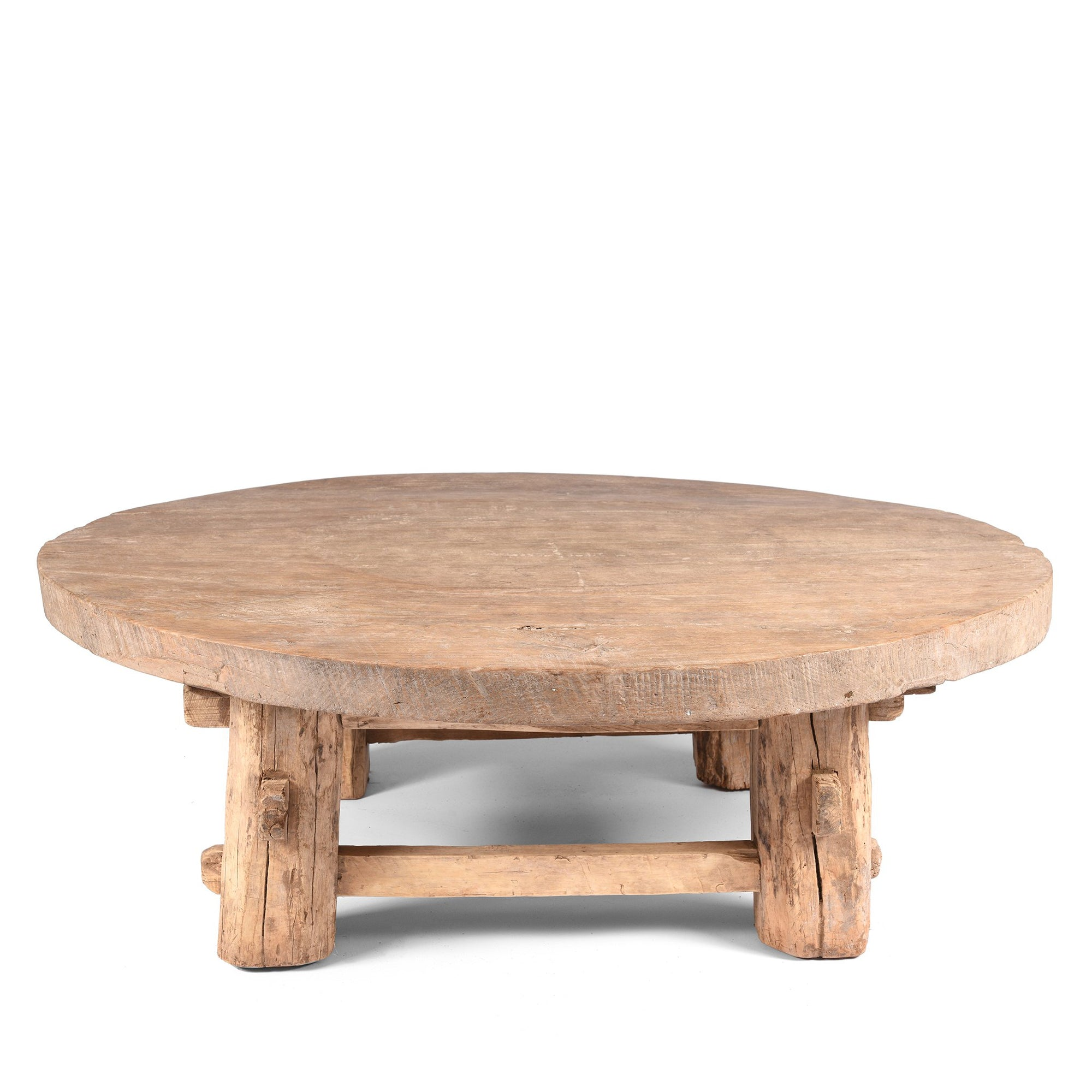 Round Elm Farmers Table From Shanxi - Ca 100 Yrs Old | Indigo Antiques