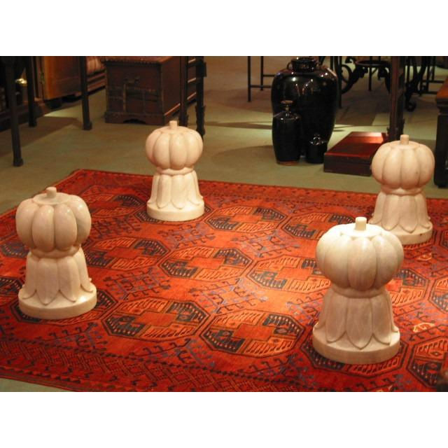 Set of 4 Carved Marble Bases for coffee table - glass extra