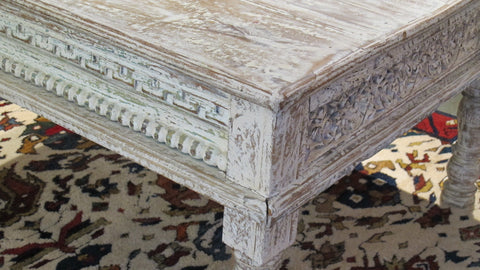 Square Coffee Table Made From Reclaimed Painted Teak