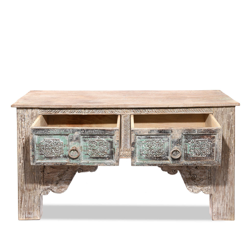 2 Drawer Painted Console Table Made From Reclaimed Teak