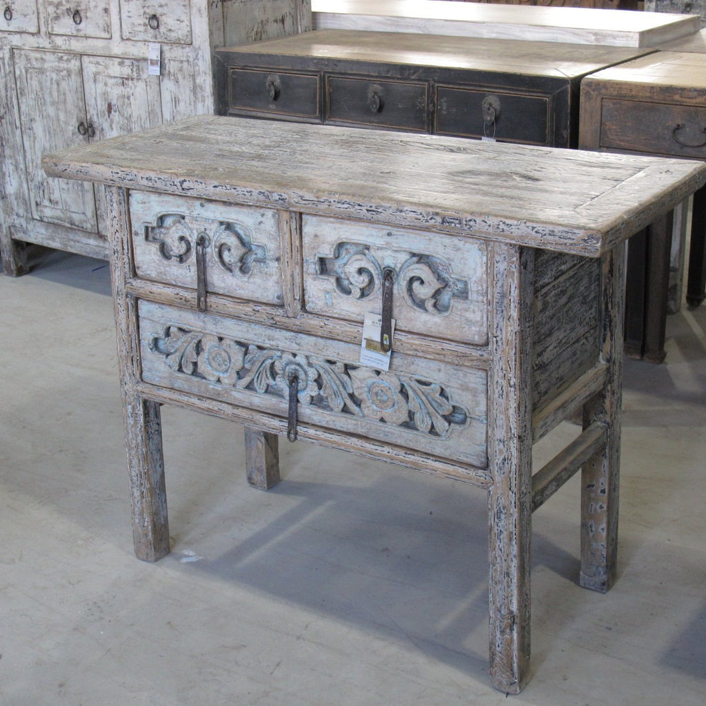 Carved Elm Wine Table With 3 Drawers