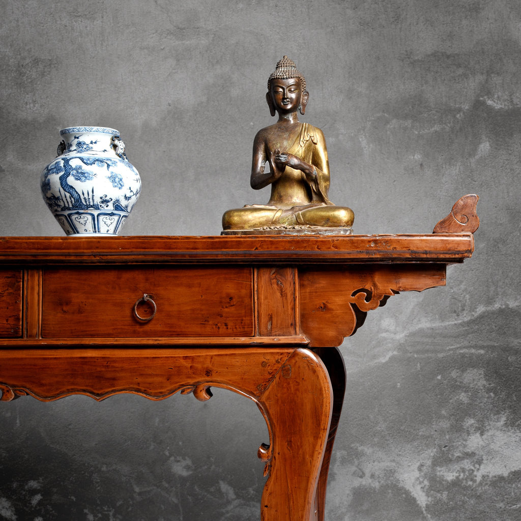 Chinese 3 Drawer Pear Wood Altar Table From Shanxi - 19thC