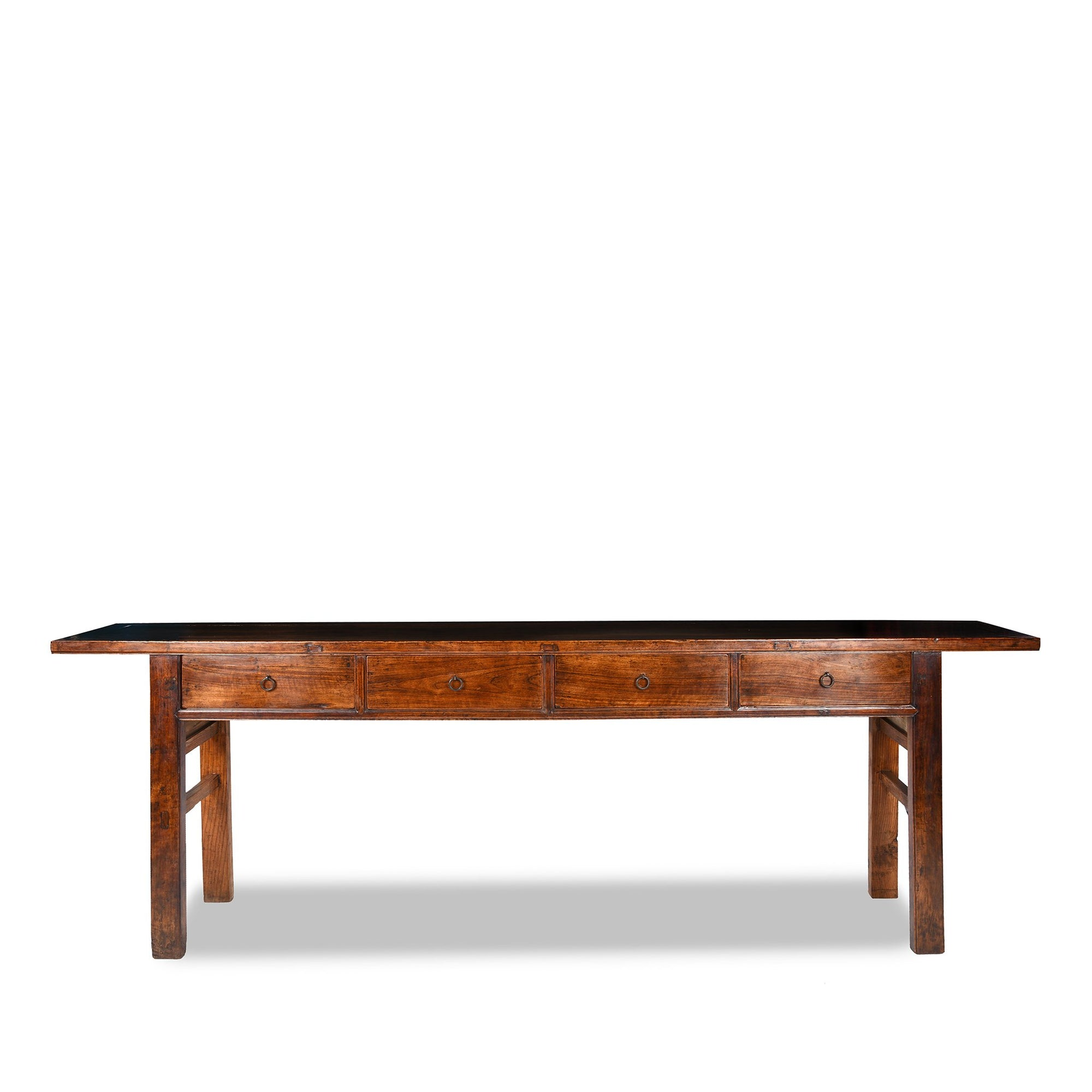 Antique walnut wood Chinese long altar table with 4 drawers from Shanxi province and beautiful patina | Indigo Antiques