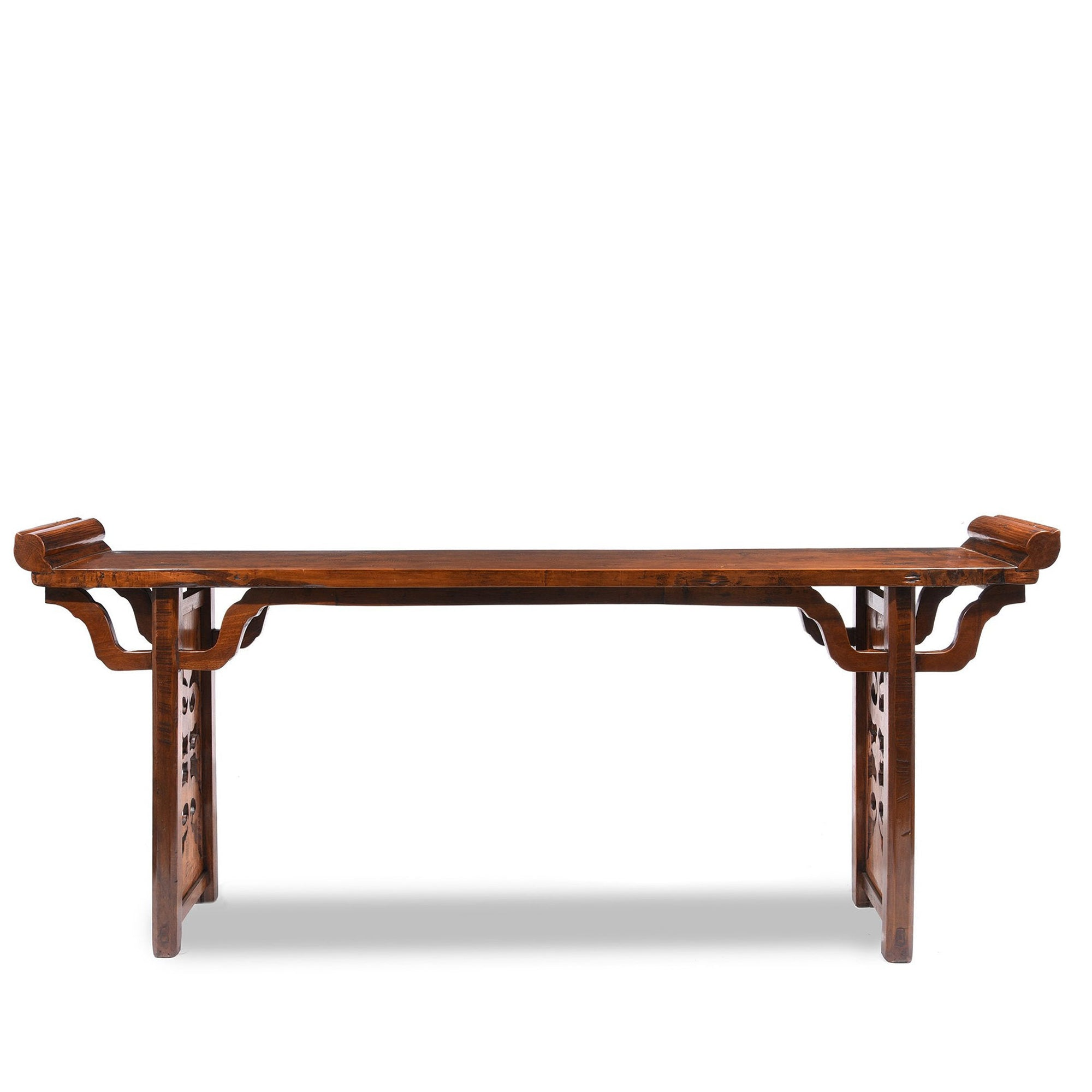 Antique Walnut Chinese Altar Table with original scroll ends From Gansu Province - 19thC | Indigo Oriental Antiques