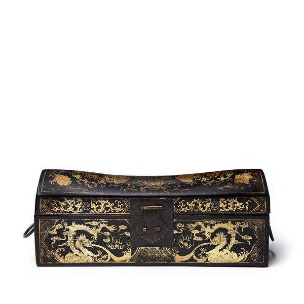 Black Lacquer Chinese Export Pillow Box - Ca 1920