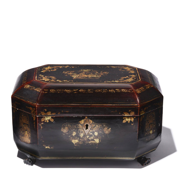 Black Lacquer Export Tea Caddy - Qing Dynasty, Early 19thC